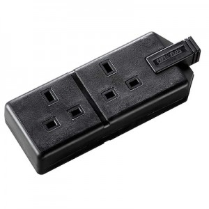 ELS132B Masterplug Work Heavy Duty Trailing Double Socket Black