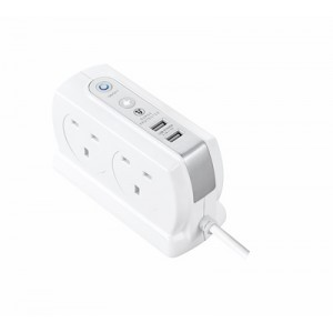 SRGDSU43PW Surge Back To Back Extension Lead w 2 x 3.1A USB 4 Sockets 3M White
