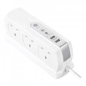 SRGDSU63PW Surge Back To Back Extension Lead w 2 x 3.1A USB 6 Sockets 3M White