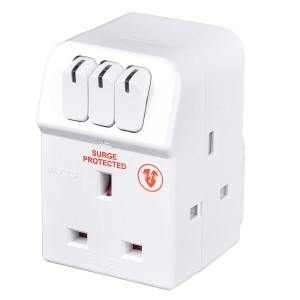 MSWRG3 Masterplug Individual Switched Surge Protected Adaptor with 3 Sockets White