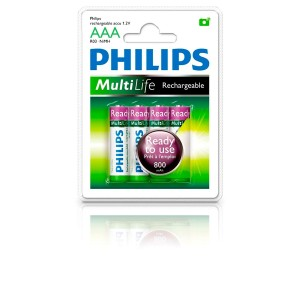 Philips Blister Pack 4xAAA Size 800mAh MultiLife Ready-to-Use Rechargeable Battery