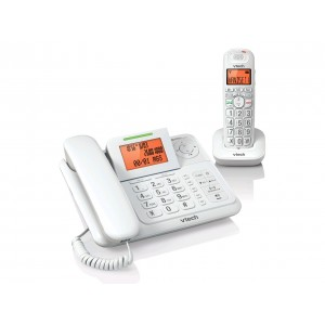 CS6147 White Big Button Volume Booster Answering Machine System Digital Combo Phone