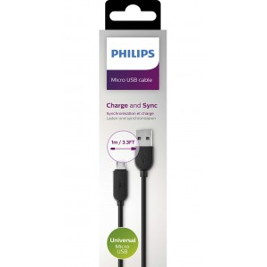 Philips Micro USB Charge and Sync Cable Black 1M