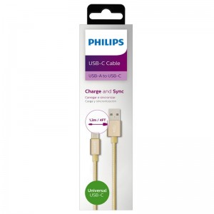 Philips USB-C Charge and Sync Cable Gold 1.2M