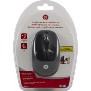 GE 68101 Black Tangle-Free Wired Retractable Mouse