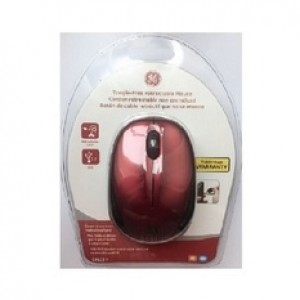 GE 68102 Red Tangle-Free Wired Retractable Mouse