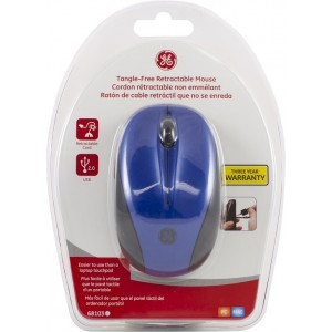 GE 68103 Blue Tangle-Free Wired Retractable Mouse