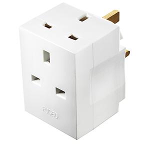 MSF3 Masterplug Basics Multisocket Adaptor with 3 Sockets White