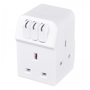 MSWG3 Masterplug Individual Switched Adaptor with 3 Sockets White