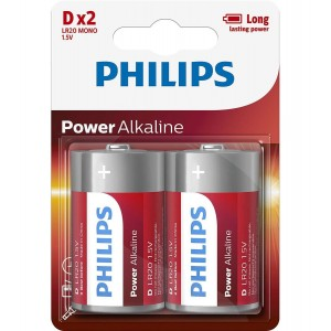 Philips Blister Pack 2xD Size Power Alkaline Battery