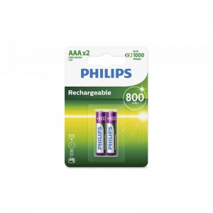 Philips Blister Pack 2xAAA Size 800mAh Rechargeable Battery