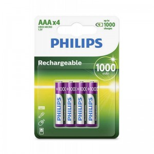 Philips Blister Pack 4xAAA Size 1000mAh Rechargeable Battery