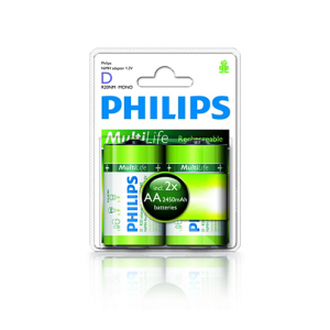 Philips Blister Pack 2xAA Size 2450mAh MultiLife Rechargeable Battery with D Adapters