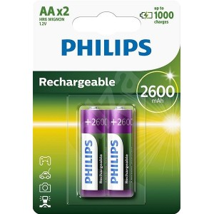 Philips Blister Pack 2xAA Size 2600mAh Rechargeable Battery