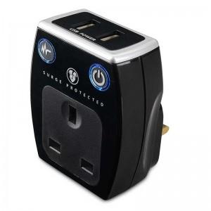 SRGAUSBPB2 Masterplug Surge USB Adaptor x 2 USB (2.1A) Polish Black