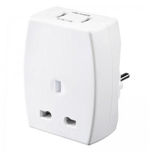 TAUSBEUR2 Masterplug Travel USB Adaptor (UK to Europe)