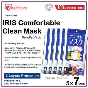 H-PK-AS7M Pleated 3 Ply Face Mask 7pcs Individually Packed in 1 pack (MOQ 5packs)