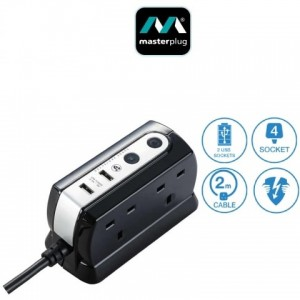 SRGDU42PB2 Masterplug Surge USB Compact Extension Lead 4 Sockets with 2 USB (2.1A) 2M Polish Black