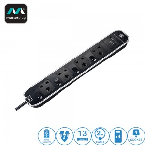SWSRGU42PB Masterplug Individually Switched Surge Protected Extension Lead w 2 x USB (2.1A) 4 Sockets